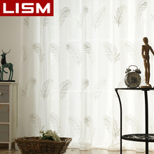 LISM Embroidered Tulle Sheer For Window Curtains For Living room The Bedroom Modern Minimalism Tulle Curtains Fabric Drapes 1 pair of sheer window tulle fabric curtains