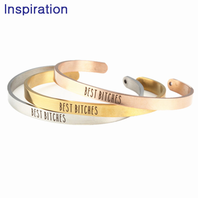 2018 Jewelry Stainless Steel BEST BITCHES Bangle Mantra Bracelet Anniversary Gift Girlfriends Birthday For Friend