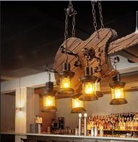 Retro Industry Wind Restaurant Bar Personality Network Coffee Shop Wooden Boat Living Room Pendant Lights ZA