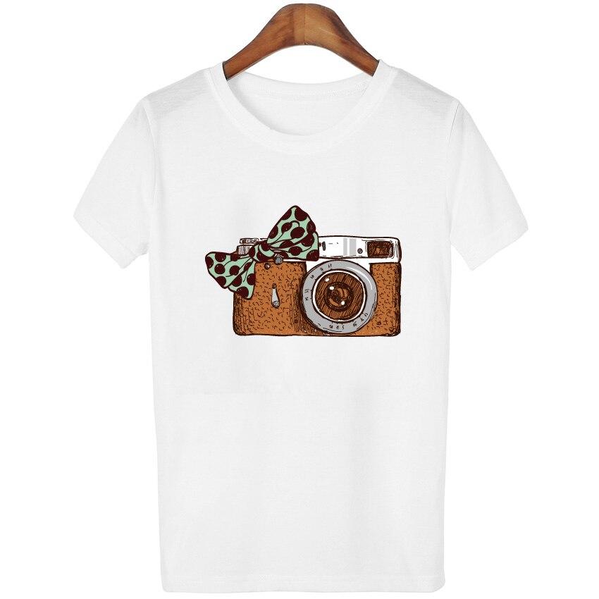 Summer Fashion t shirts short sleeves t-shirt Women Camera Print t shirt Women tops tees casual tshirt Women
