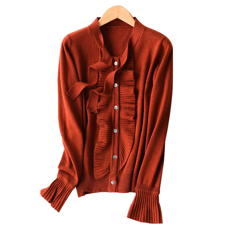 2018 Autumn bowknot Blet Collar Womens 30 Cashmere Cardigan Vintage Ruched Female Knitted Wool Cardigans Solid