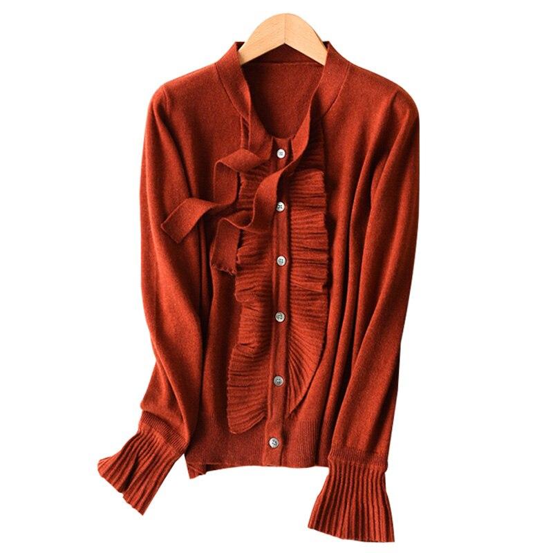 2018 herbst bowknot Blet Kragen Frauen 30 Kaschmir Strickjacke Vintage Geraffte Weibliche Gestrickte Wolle Strickjacken Solide V ausschnitt #956-in Strickjacken aus Damenbekleidung bei  Gruppe 1
