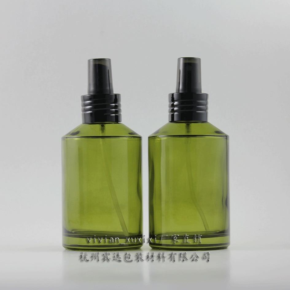 200ml okrogla zelena potovalna steklenička za parfume s črnim aluminijastim razprševalnikom / meglico, posoda za parfume, embalaža za parfume