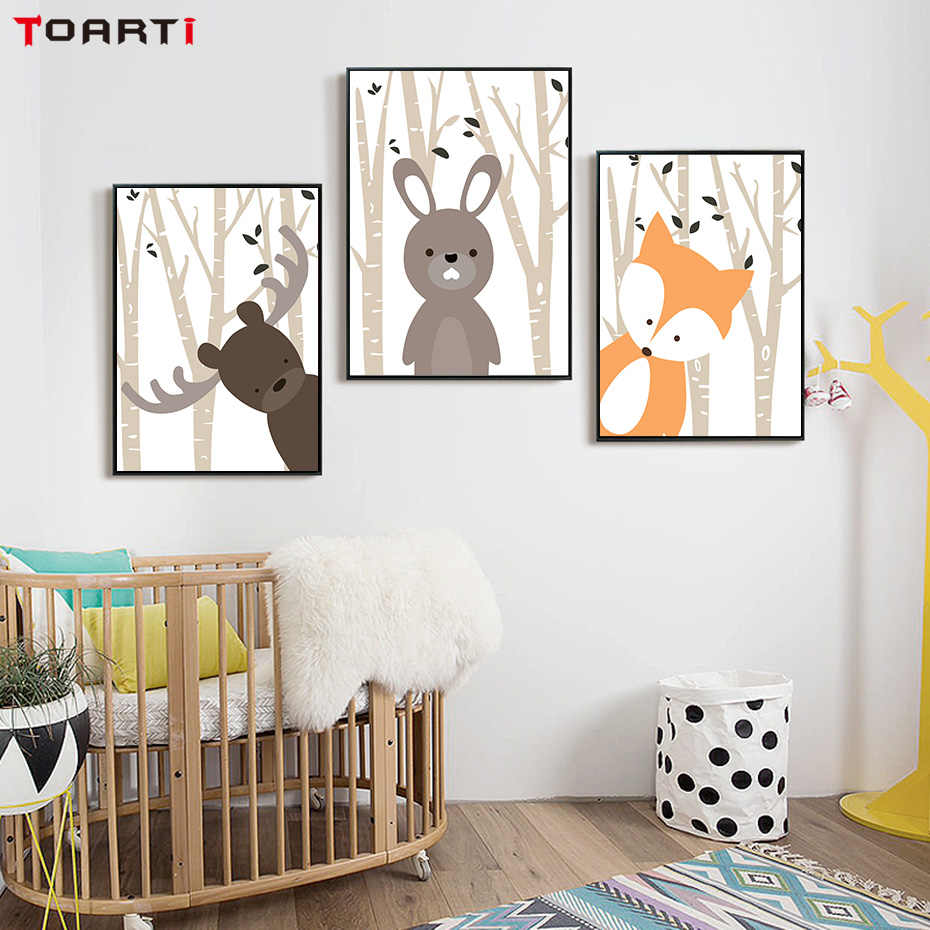 Cartoon Forest tree Posters & Prints Deer Rabbit Fox Canvas Painting On The Wall Art Modern Art Picture Nursery Room Home Decor