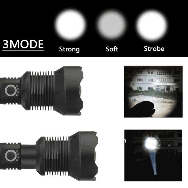Мощный светодиодный тактический фонарь XHP70.2 XHP50, Перезаряжаемый 18650 или 26650 аккумулятор, зарядка через USB, большая полицейская лампа