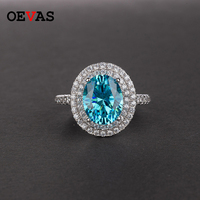 Sparkling Full AAA CZ Big Oval Blue White Pink Yellow Zircon Weddding rings for women Luxury S925 Silver Party jewelry Bague