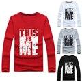 Resorte de la manera de Los Nuevos Hombres Camiseta ESTE SOY YO Impresión Larga de Algodón Streetwear de manga O Cuello de la Camiseta Tops Para Niños Estudiantes de Talla grande 3XL