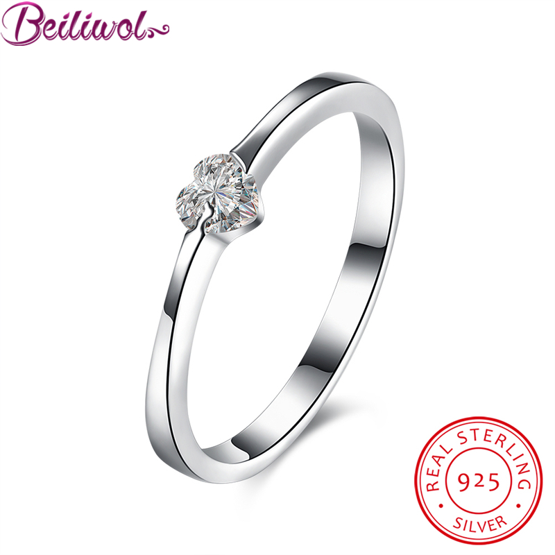 Real 925 100% Sterling Silver Forever Love Heart Finger Ring Compatible Jewelry Wedding Rings For Women Gift Drop Shipping CZ