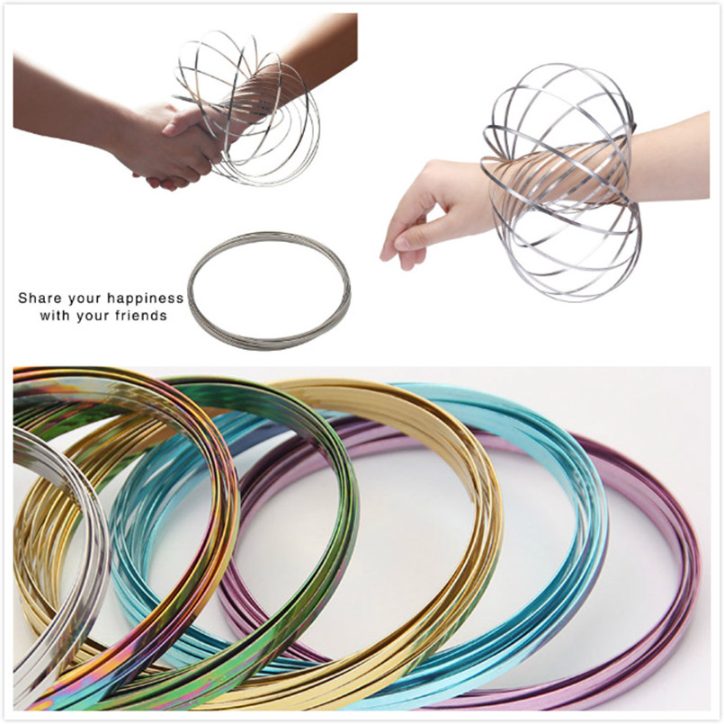 Magic Bracelet Aniti-stress Magic Toroflux  Funny Flow Ring Kinetic Spring Toys  304 Stainless Steel Flow Color Rings Toys I0064