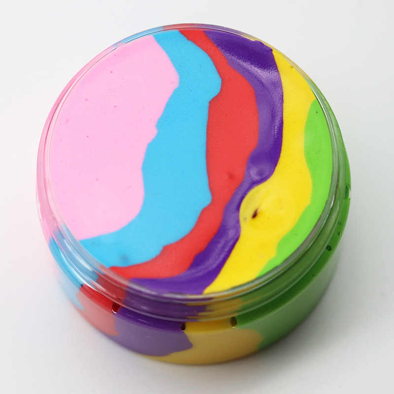6 Color Fluffy Relief Toy Rainbow Color Stop Stress Slime Plasticine Slime Interesting Toys Gift Kids Gift Stress Slime