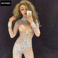 BU014 Women Silver Full Of Sparkly Crystals Jumpsuits Long Sleeve Bodysuit Performance Party Celebrate Luxurious Shining Costume