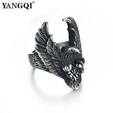f61c40e0348e YANGQI Stainless Steel Flying Eagle Ring for Men Antique Silver Color Punk  Jewelry Club Party Cool