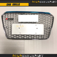 grill 2012 2015 RS5 style front Grille Black or silver ABS Auto racing S5 grille chrome Mesh Painted For A A5