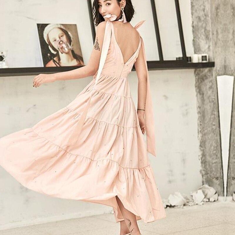 Femme V Robe Robes De Nouveauté Strap Diamants Partie Plongeant Noir 2018 Backless Sexy Col blanc Spaghetti Stations Automne Décontracté wqt8RXBX
