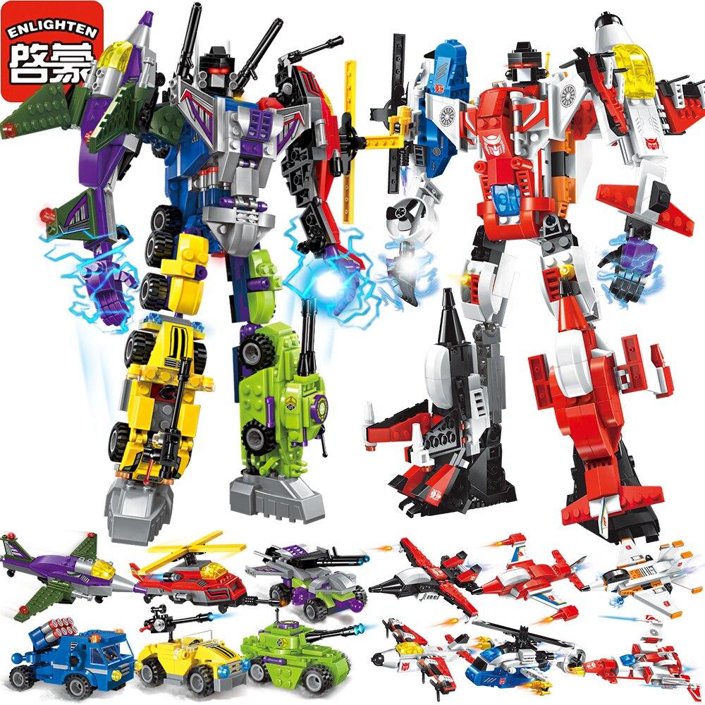 Enlighten Меха Обучающие Блоки Игрушки Детские Робот Грузовик Hero Разрушитель Автомобилей Автомобиля Совместим С Legoe Наклейки