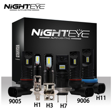 NIGHTEYE ampoules à brouillard de voitures, LED, H1 H3 H7 H11 9005/HB3 9006/HB4, 160W, 1600lm, 6500K, pour la conduite automobile, CSP puce Led