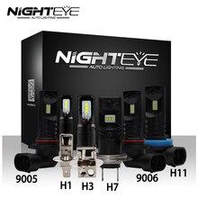 Nighteye lâmpadas led para farol automotivo, h1, h3, h7, h11, 9005/hb3, 9006/hb4, lâmpada para neblina, 160w chip led nevoeiro automático 1600lm 6500k, luzes de condução csp