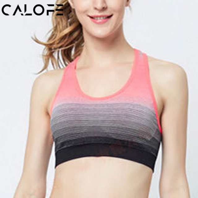 e0facc3b44 CALOFE Gradient Striped Women Sport Bra Top Push Up Bra Wirefree Running  Crop Tops Fitness Workout Shockproof Sports Yoga Bra