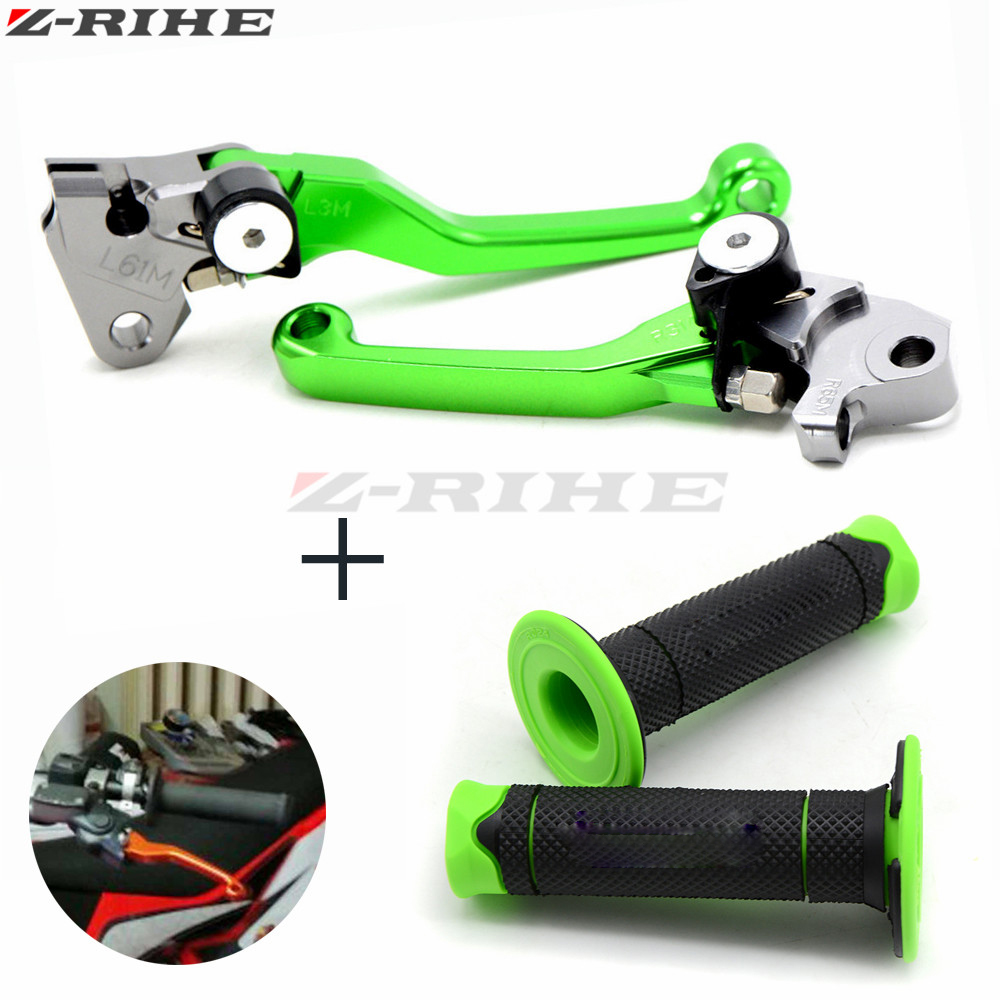 motorcycle brake lever and hand grip Dirt Bike Pivot Brake Clutch Levers for Kawasaki KX250F KX250 KX450F KLX450R KX250F SX 85 cnc pivot brake clutch lever for kawasaki kx65 kx85 kx125 kx250 kx250f new