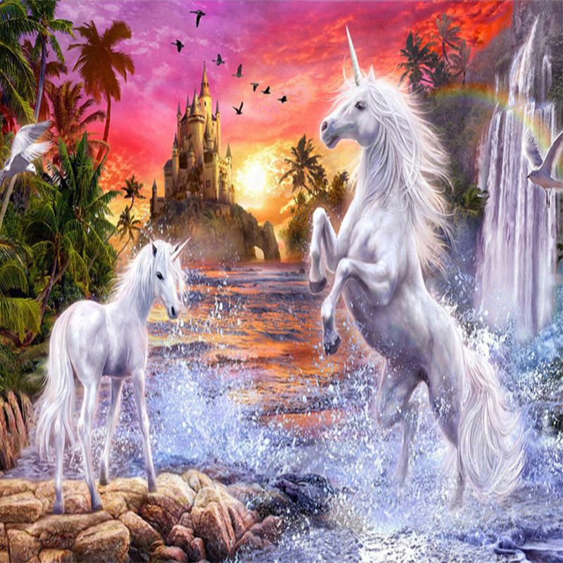 Photo Wallpaper 3D Stereo Red Sky Rainbow Castle Waterfalls White Horse Murals Children's Bedroom Background Wall Painting Decor under a blood red sky