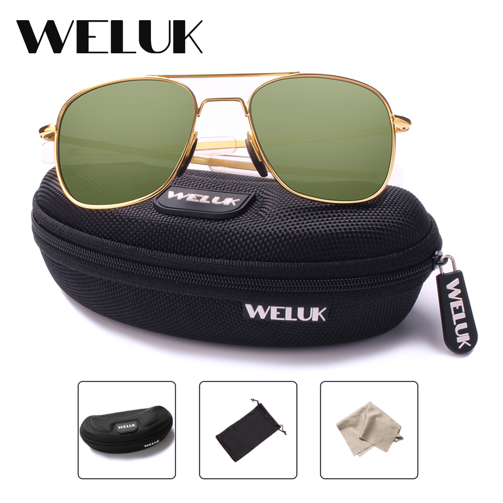 f415515fc3 משקפי שמש לנשים - WELUK Fashion Brand Military AO Polarized Army Pilot  Sunglasses American Optical Glass Lens Sun Glasses Oculos De Sol Masculino
