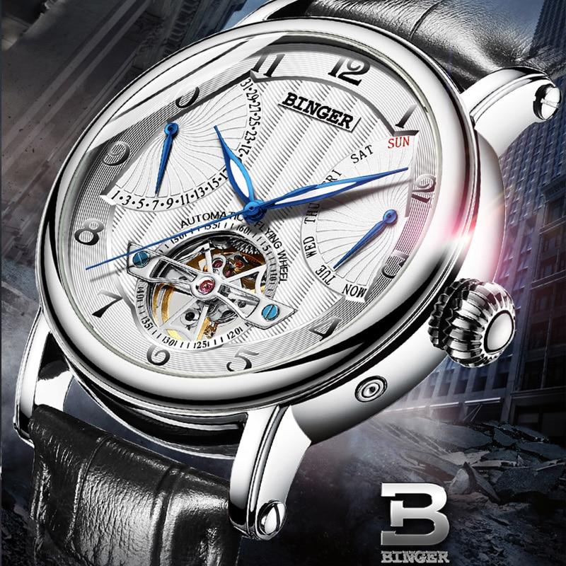 Szwajcaria marka BINGER zegarki mężczyźni luksusowe Tourbillon automatyczny zegarek Sapphire prawdziwej skóry wodoodporny zegarek mechaniczny w Zegarki mechaniczne od Zegarki na  Grupa 2