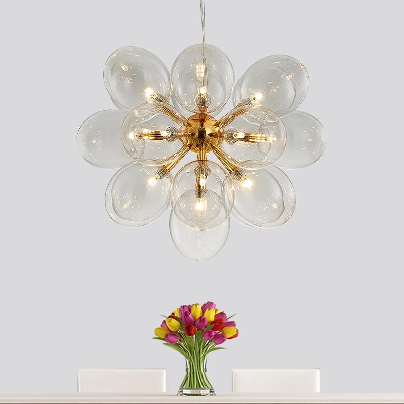 62cm de diâmetro Post Modern 19 G4 Dia62cm Luz Led Lustre Pendente Dandelion Clear Placa de Cromo/Ouro Levou Lustre