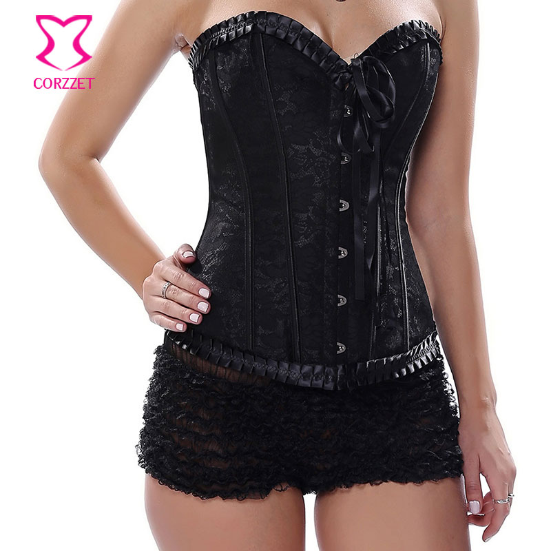 Strapless Black   Bustier     Corset   Sexy Corpetes E Espartilhos Gothic Clothing Jacquard Overbust Corsetto Women   Corsets   and   Bustiers