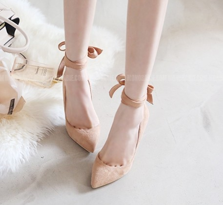 ФОТО Women Pumps Pointed Toe Leather High-Heeled Shoes Bowtie Bandage Small 32 33 Formal Dress Shoe Plus Size 40 41