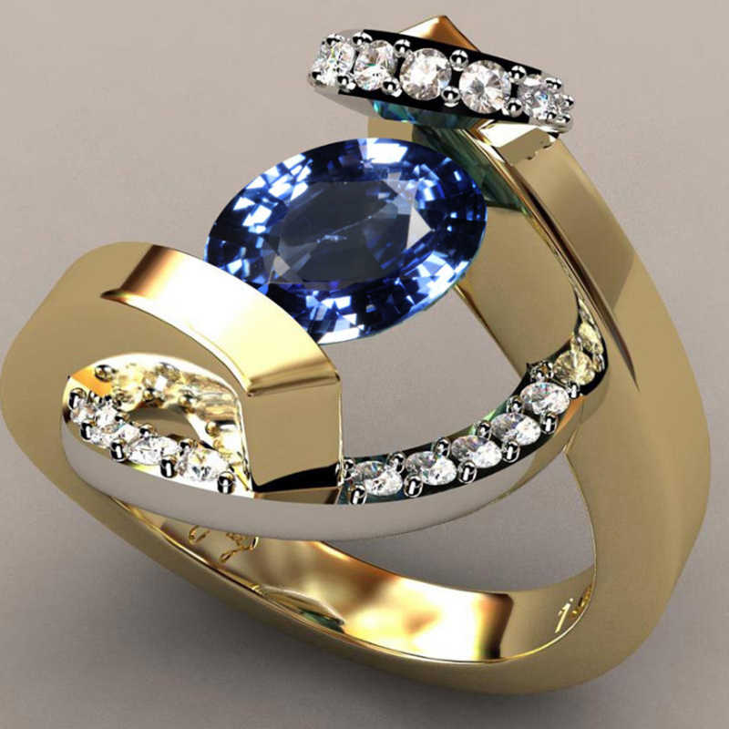 Tisonliz Blue Crystal Rings Zircon Wedding Engagement Band Rings For Women Gold Silver Promise Rings  Party Jewelry Gifts