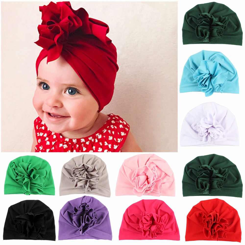 New Fashion Flower Baby Hat Newborn Elastic Baby Turban Hats for Girls 10  Colors Cotton Infant e829779d753b