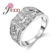 JEXXI Hot Sale Luxury Women Men Engagement Wedding Rings 925 Sterling Silver CZ Finger Jewelry Bijoux Wholesale Price