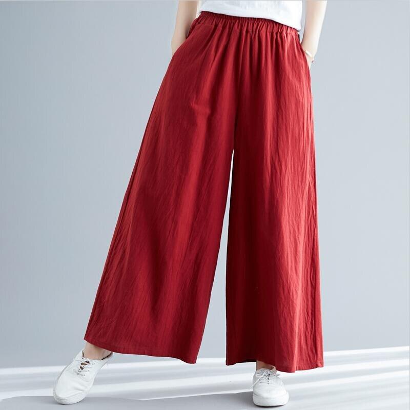 Spring Cotton Linen Pants 2019 Fashion Woman Long Pants Casual Solid Wide Leg Pants Plus Size M-7XL Trousers Red Black