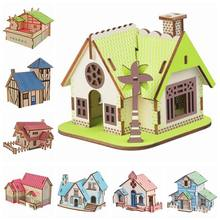 3D Wood Puzzle Architectural Series Forest Hut Western Farmhouse Chocolate Cottage DIY Puzzles Toys For Children Birthday Gifts(China)
