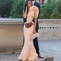 Розовый одно плечо Русалка атласные платья специальное платье без рукавов вечерние платья вечерние Платья для вечеринок модные женские ту