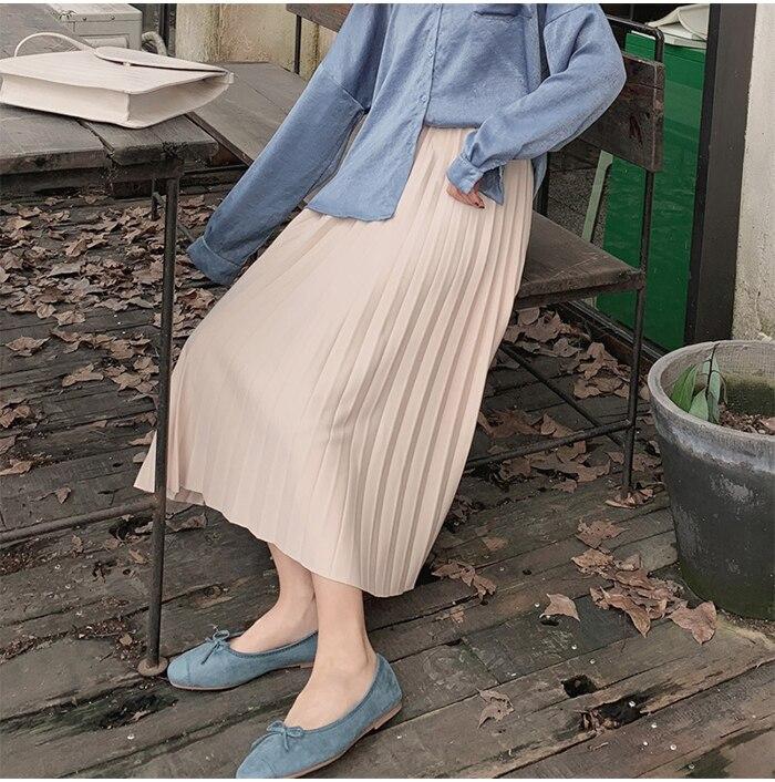 Surmiitro Elegant Solid Midi Pleated Skirt Women 19 Autumn Winter Ladies Korean High Waist A-line School Long Skirt Female 14