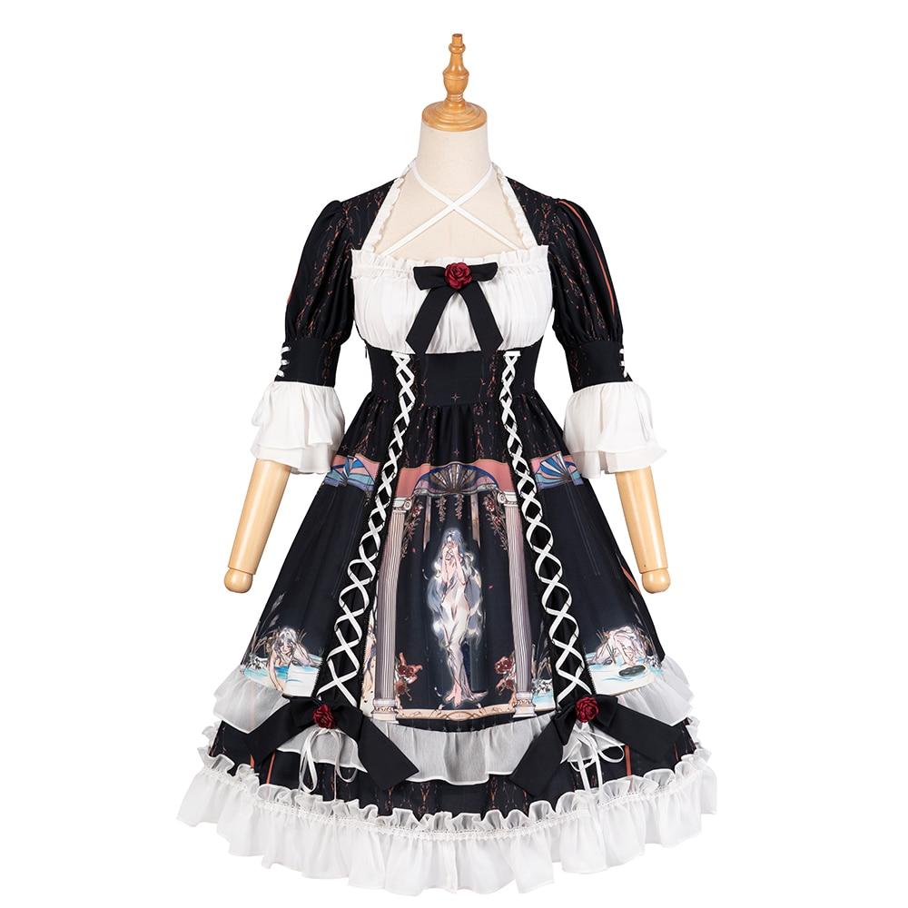Gothique Lolita une pièce robe noir demi manches impression 3D à volants lolita OP robe avec des arcs