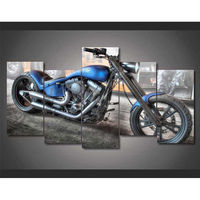 Home Decoration Modular Living Room Wall Art Pictures 5 Panel Motorcycle Framed HD Printed Modern Canvas