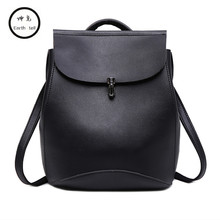 KUNDUI Famous Brand Backpack Women Backpacks Leisure Vintage Girls School Bags for Girls Black PU Leather Lock Travel Backpack