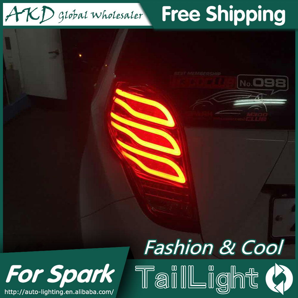 AKD Car Styling for Chevrolet Spark Tail Lights 2010-2014 New Spark LED Tail Light Rear Lamp DRL+Brake+Park+Signal jgd brand new styling for nissan s15 tail lights 1999 2014 led tail light rear lamp led drl singal car lights