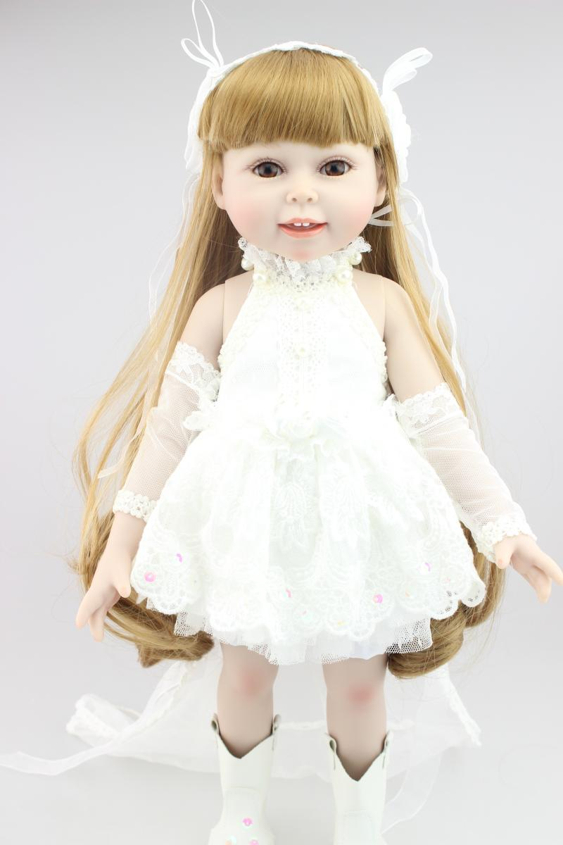 18 Blond Hair Bride Doll Wedding Dress Realistic Baby Toys Birthday Gift for Girls As American Girl Dolls Bride Princess Doll american girl doll clothes 4 styles elsa blue lace princess dress doll clothes for 16 18 inch dolls baby doll accessories x 2