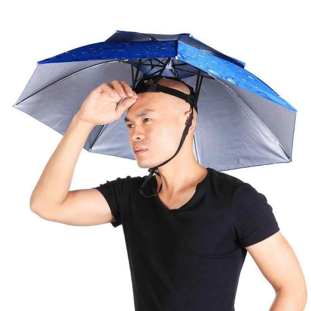 f4ed7c186bc4b ... Portable Fishing Headwear Umbrella Hat Foldable Double UV Sun Shade  Waterproof Cap Breathable Windproof Fishing Cap ...