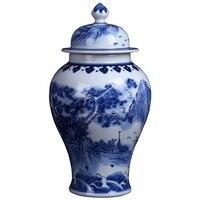 Jingdezhen ceramic antique blue and white porcelain general tank storage landscaping vase Chinese living room decorations