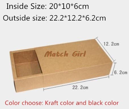 10pcs/lot 20*10*6cm Blank Black Kraft Drawer Box Handmade Soap Craft Jewel Macaron Packaging Party Gift Boxes