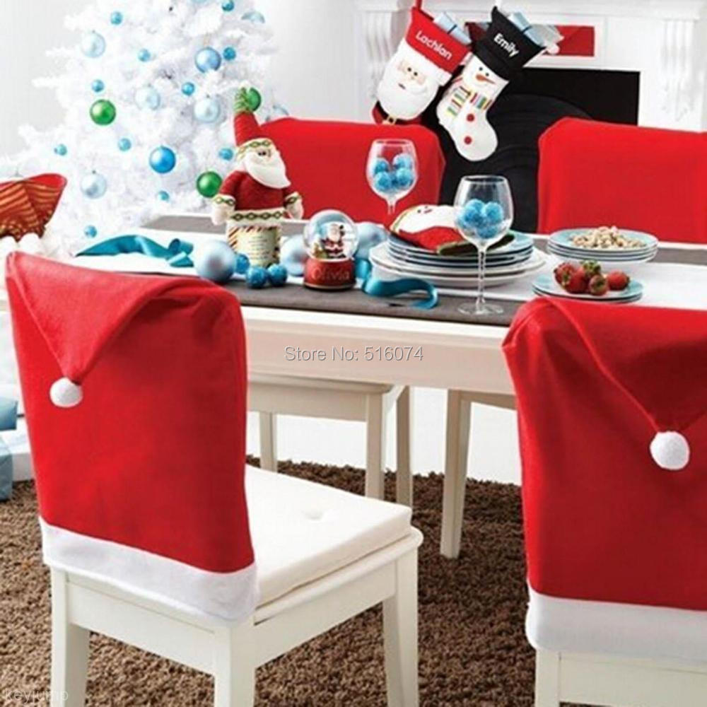 New Fashion Santa Clause Red Hat Chair Back Cover Christmas Dinner Table  Party Decor For Christmas
