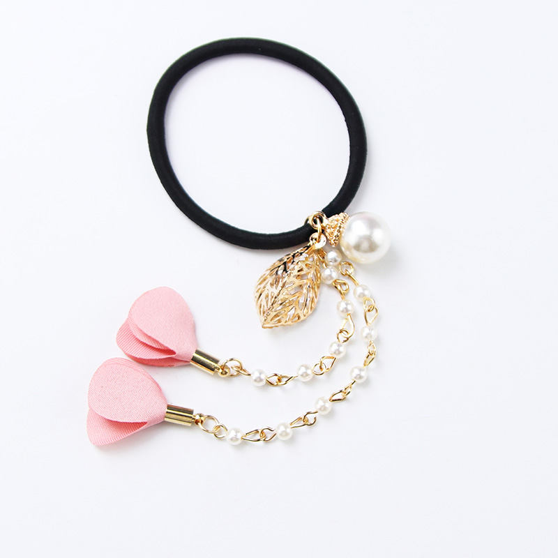 Women Cute Long Cloth Flower Pearl Alloy Leaf Pendant Black Elastic Rubber Band Hair Rope Ponytail Holder Hair Bands Accessories