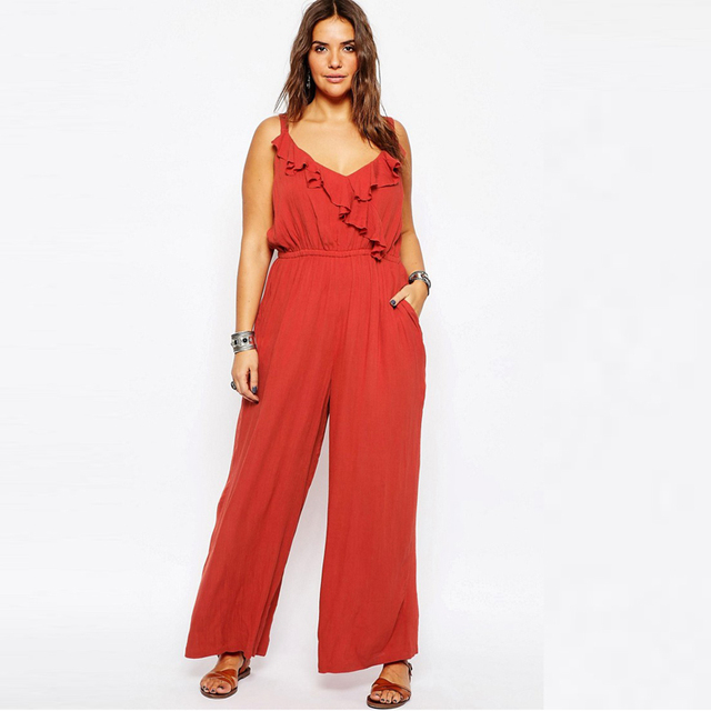 Plus Size Rompers Womens Jumpsuit 2016 Casual Loose Overalls For Women Large Size Full Length Ruffle Romper Fitness Jumpsuit New