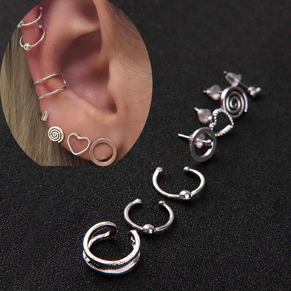 7 pcs/set Punk Vintage Alloy Stud Earrings Ear Clip Set for Women Lovely Charms Collection Heart-shaped Circles Rotating Ear Jew
