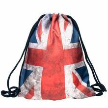 Fashion Unisex Bag Emoji Backpack 2016 New Flag Pring Women Backpacks 3D Printing Bags Drawstring Backpack Dec12