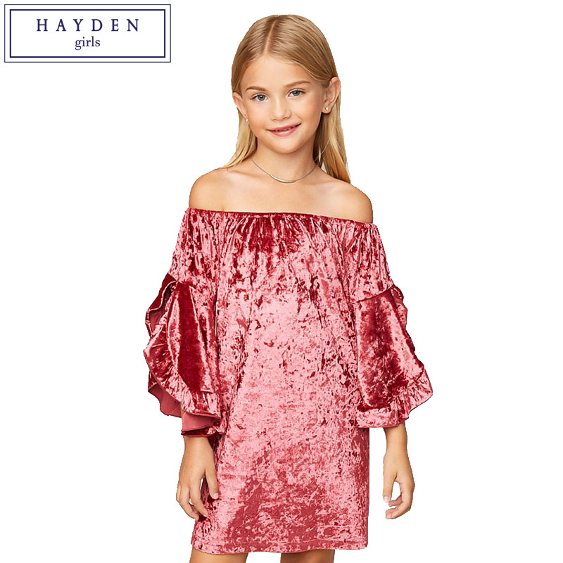 HAYDEN Girls Velvet Dress 7 to 14 Years Teenage Girls Off Shoulder Dress Brand Kids Ruffle Sleeve Dresses Size 8 9 10 11 12 13 цена 2017